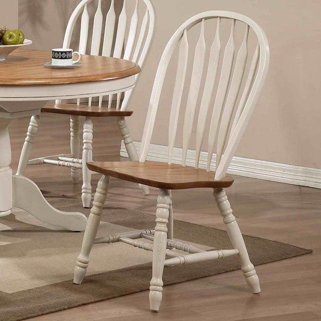 Missouri Side Chair (Set of 2) (Antique White/ Rustic Oak)