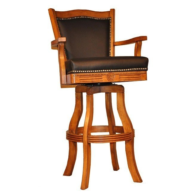 Burnished Oak Leather Barstool