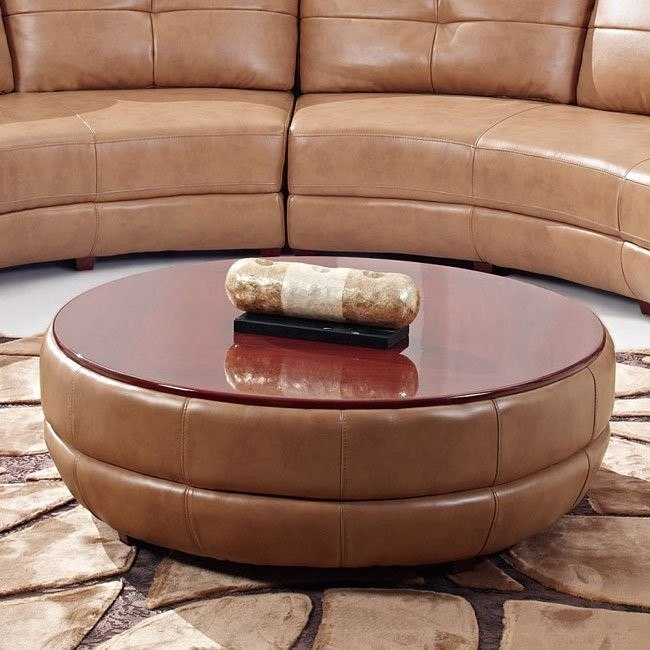 918 Honey Leather Ottoman / Coffee Table