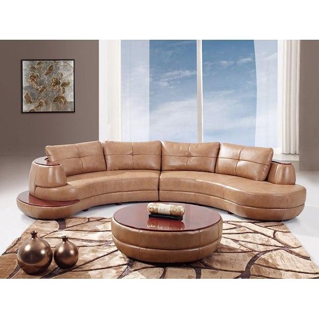 918 Honey Leather Sectional Set