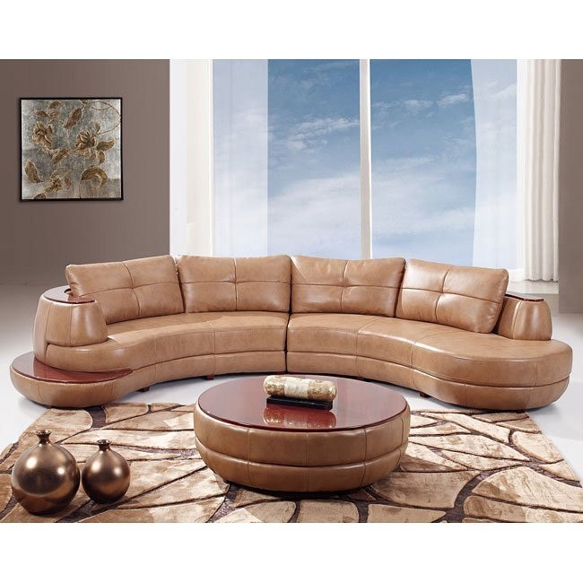 918 Honey Leather Sectional
