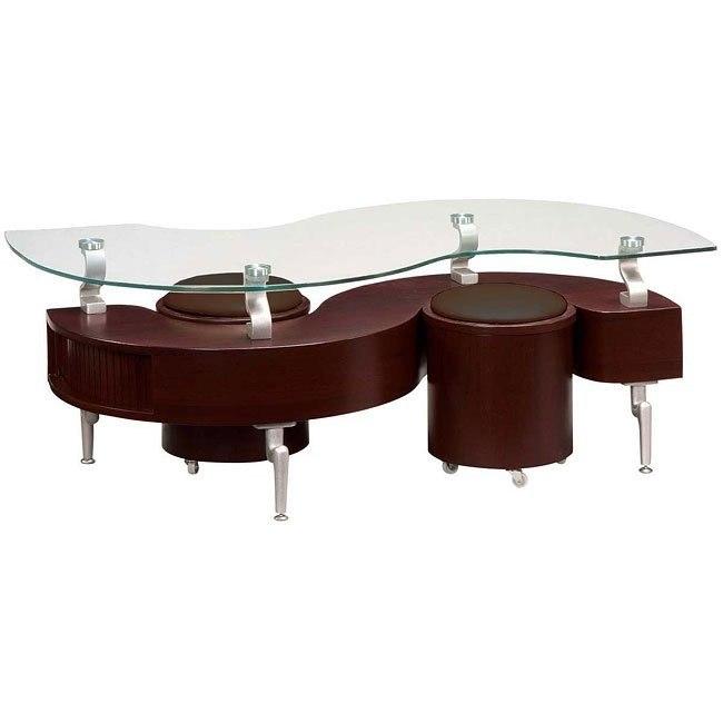 288 Mahogany Coffee Table W Brown Seats