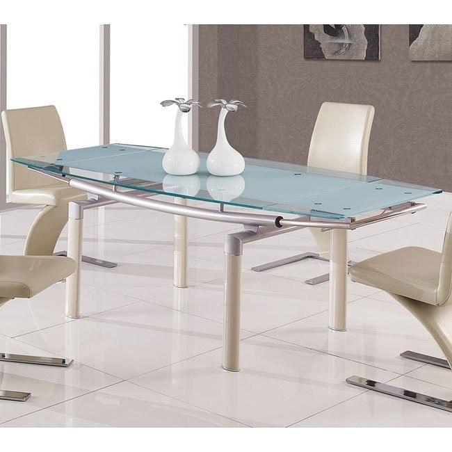 88dt Gl Dining Table W Beige Legs