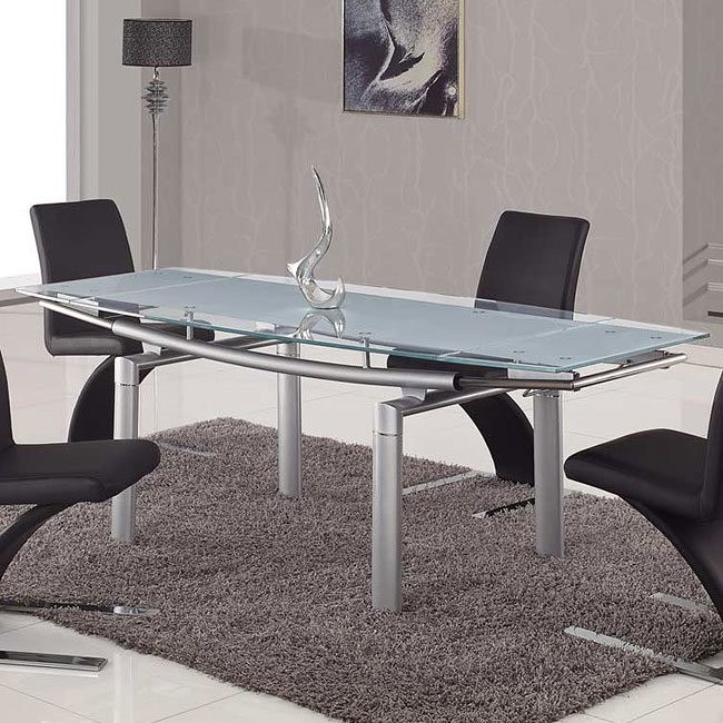 88dt Gl Dining Table W Silver Legs