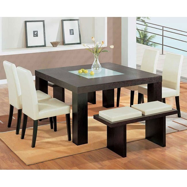 G020 Brown Dining Room Set W Beige Chairs