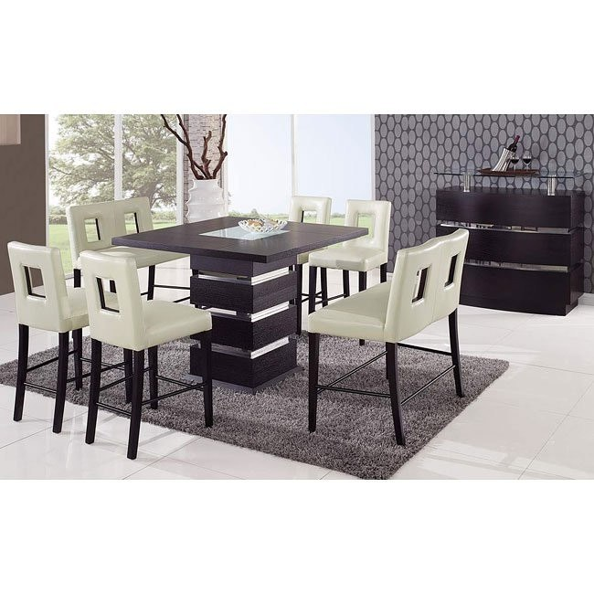 G072 Counter Height Dining Room Set W Beige Chairs
