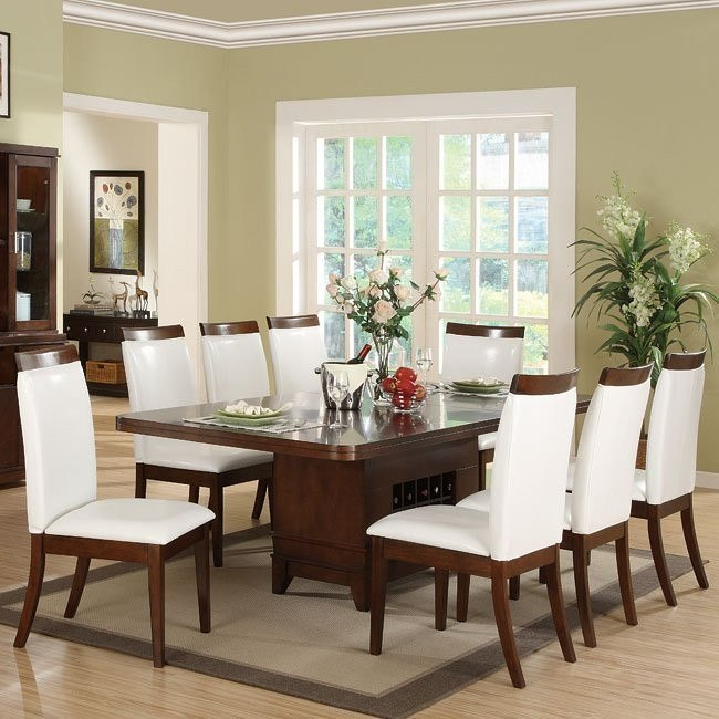 Elmhurst Pedestal Dining Room Set With White Wood Rail