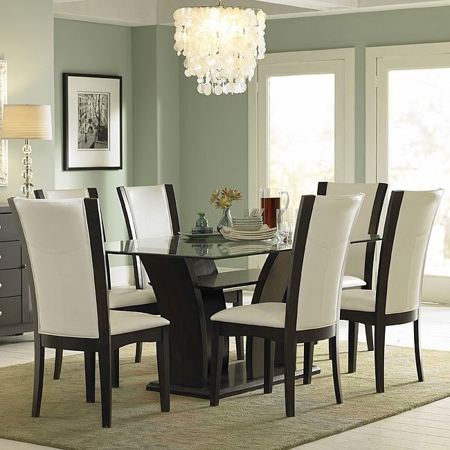 Daisy Glass Top Dining Room Set with White Chairs