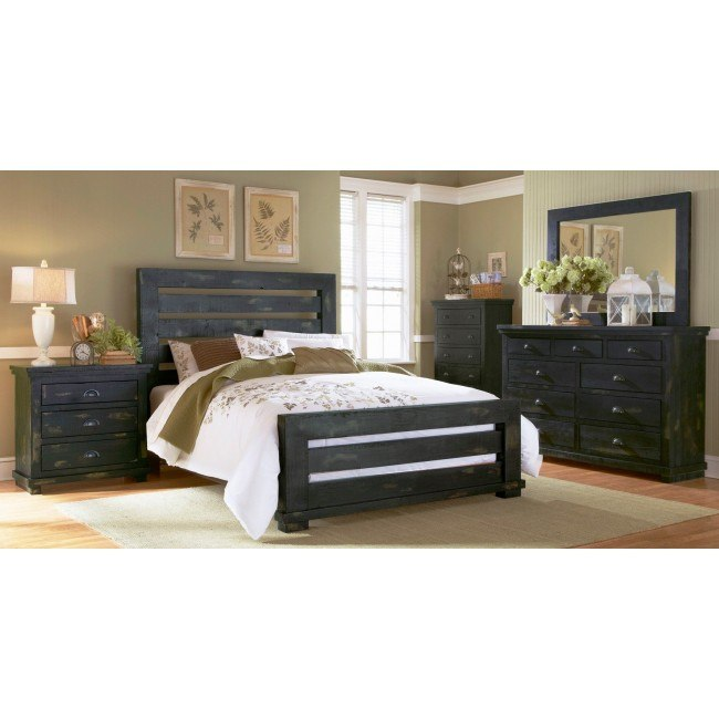 Willow slat bedroom set distressed black by progressive - Distressed bedroom furniture sets ...
