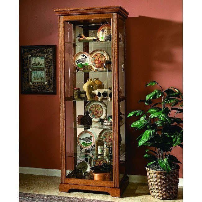 Golden Oak III Two Way Sldg Door Curio