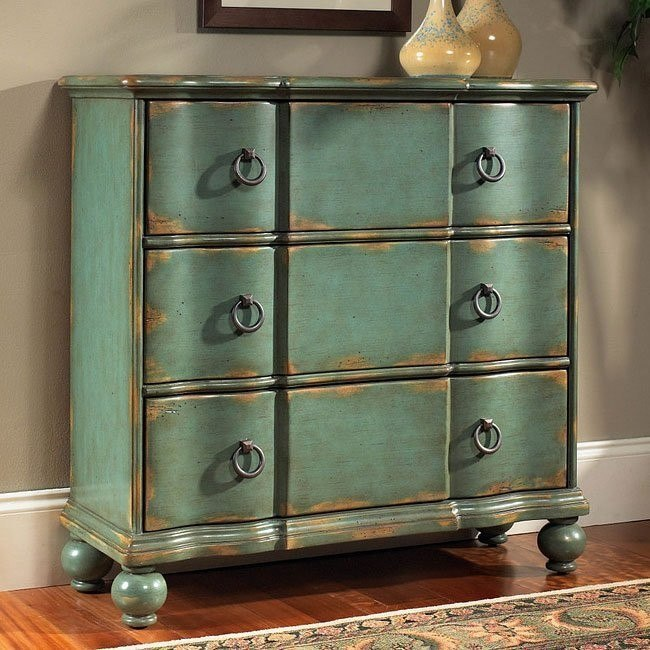 Weathered Blue Hall Chest