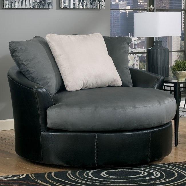 Masoli - Cobblestone Oversized Swivel Accent Chair