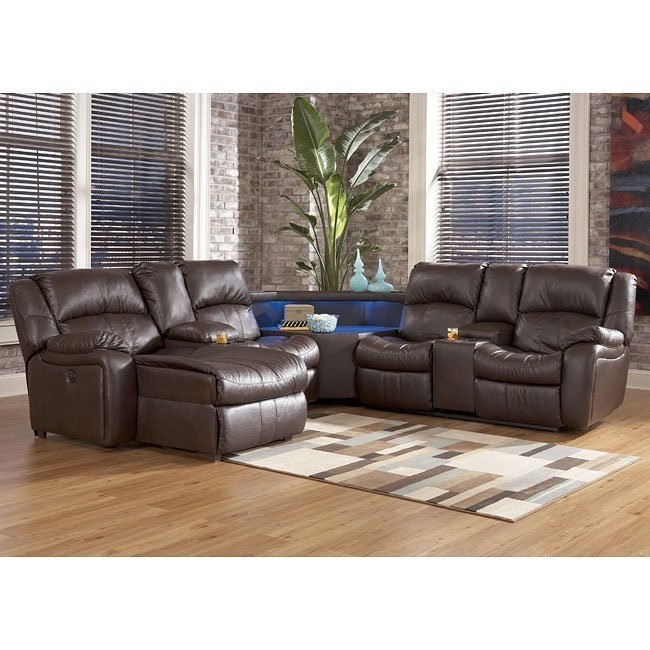 Kimayro DuraBlend - Teak Power Sectional w/ Left Chaise