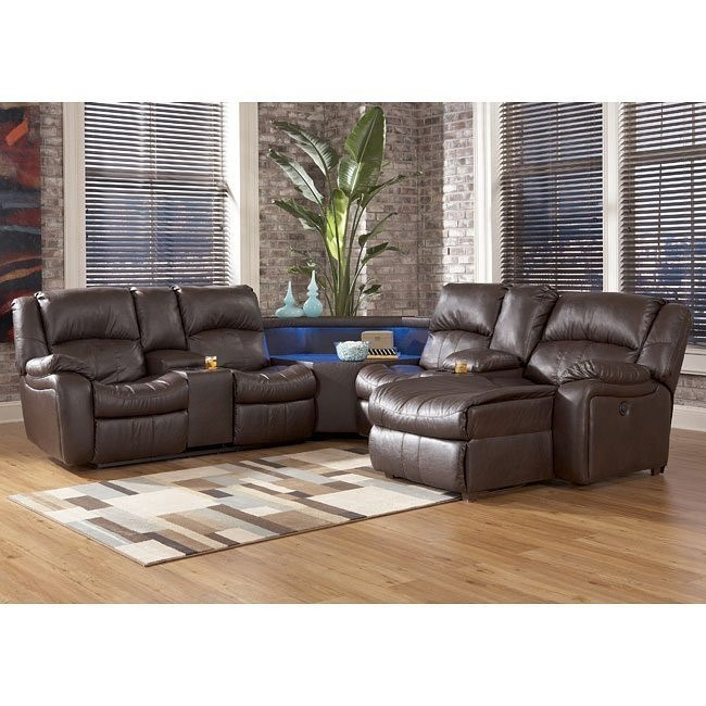 Kimayro DuraBlend - Teak Power Sectional w/ Right Chaise