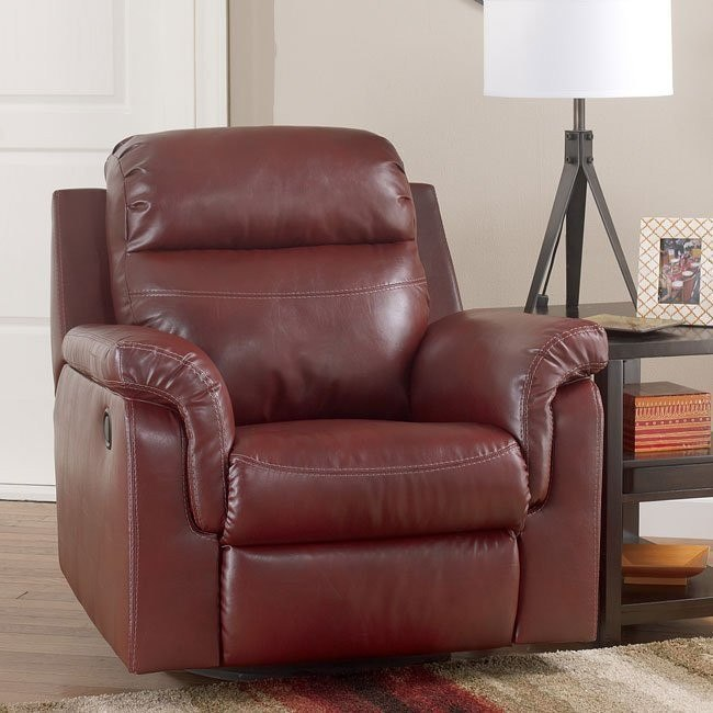 Primematic DuraBlend Crimson Swivel Rocker Recliner