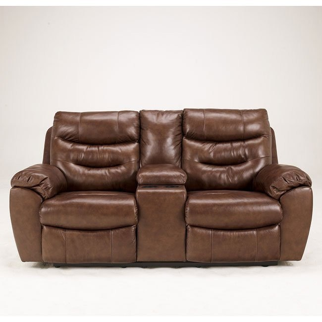 Arjen Copper Reclining Loveseat w/ Console