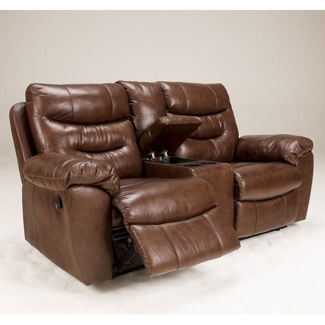 Arjen Copper Reclining Loveseat w/ Console and Power