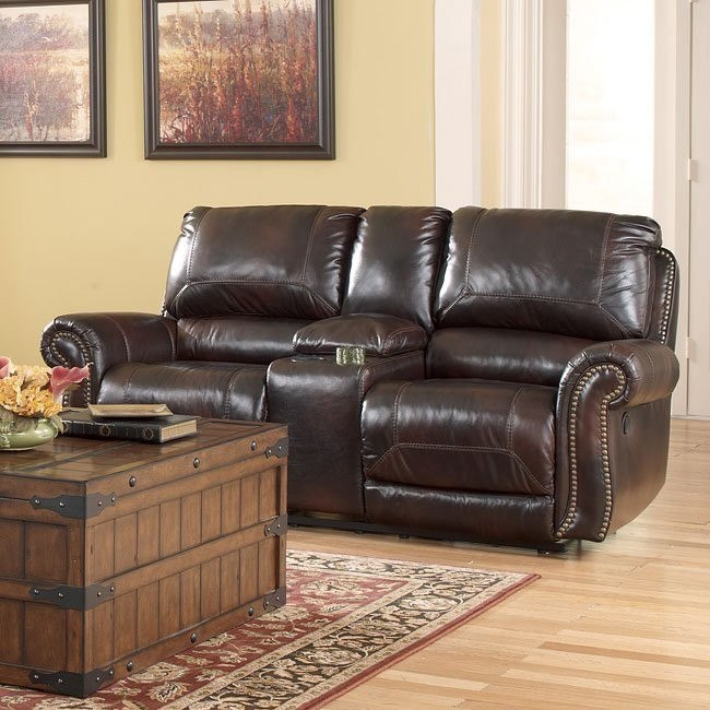 Dexpen Saddle Double Reclining Loveseat w/ Console and Power