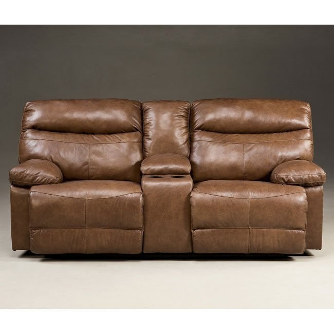 Beamard Toffee Reclining Loveseat w/ Console