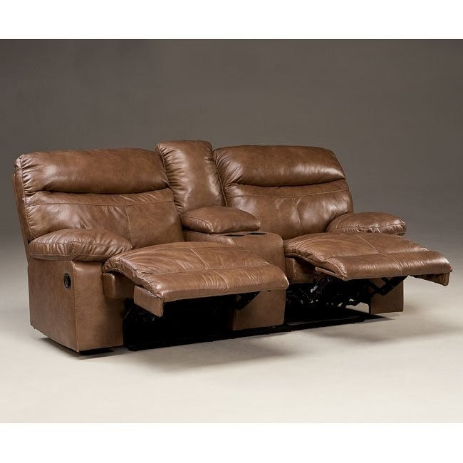 Beamard Toffee Power Reclining Loveseat w/ Console