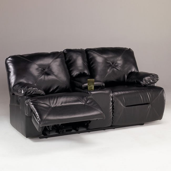 DuraBlend - Black Reclining Loveseat w/ Console and Power