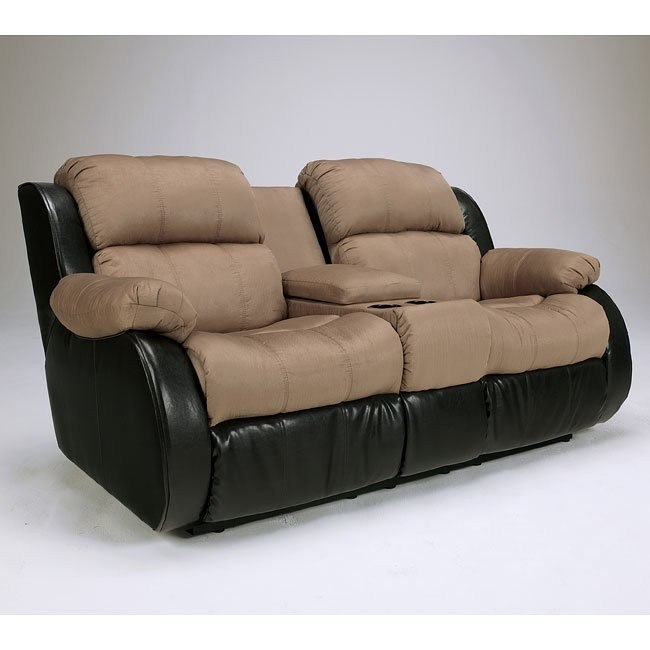 Presley - Cocoa Double Reclining Loveseat w/ Console