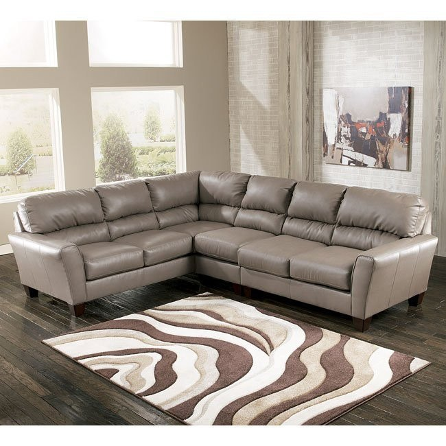Kentley DuraBlend - Mushroom Large Sectional w/ Right Loveseat