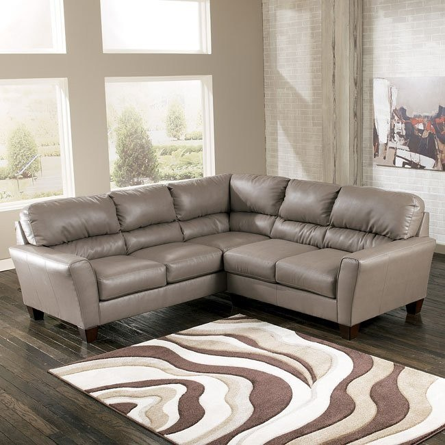Kentley DuraBlend - Mushroom Sectional w/ Right Loveseat