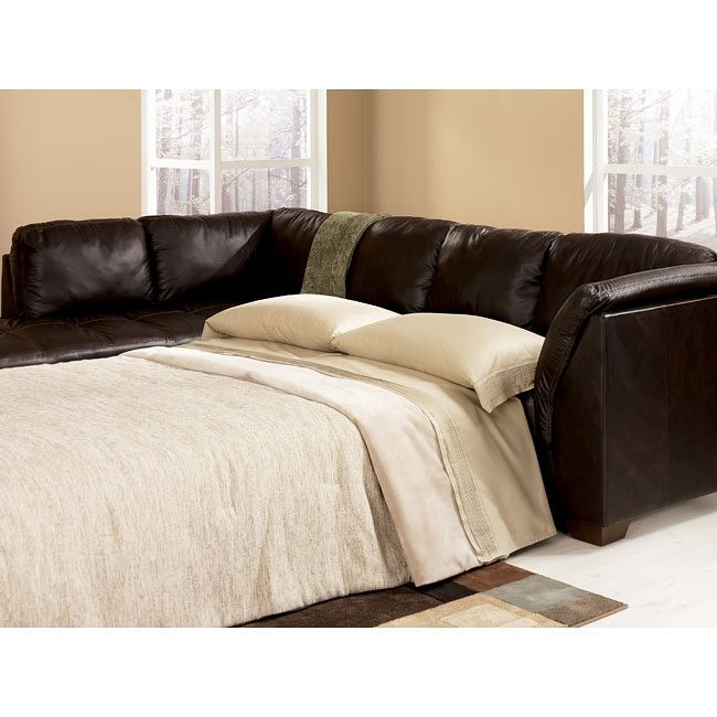 Harrington - Chocolate Left Chaise Sectional with Sleeper