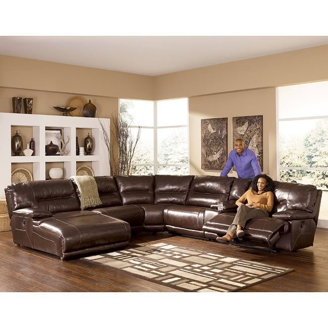 Exhilaration - Chocolate Reclining Sectional w/ Left Facing Chaise