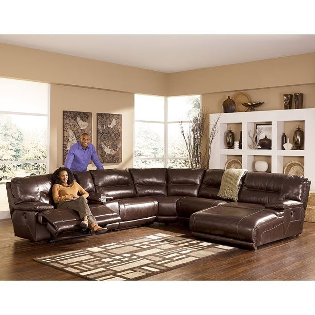 Exhilaration - Chocolate Reclining Sectional w/ Right Facing Chaise