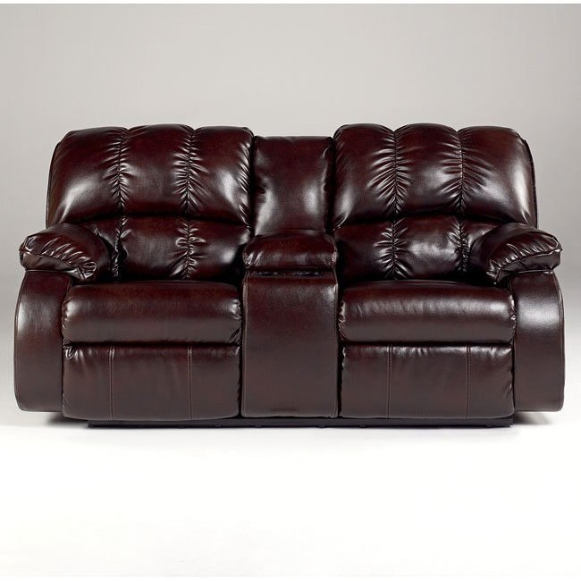 Knockout DuraBlend - Redwood Dual Glider Reclining Loveseat w/ Console