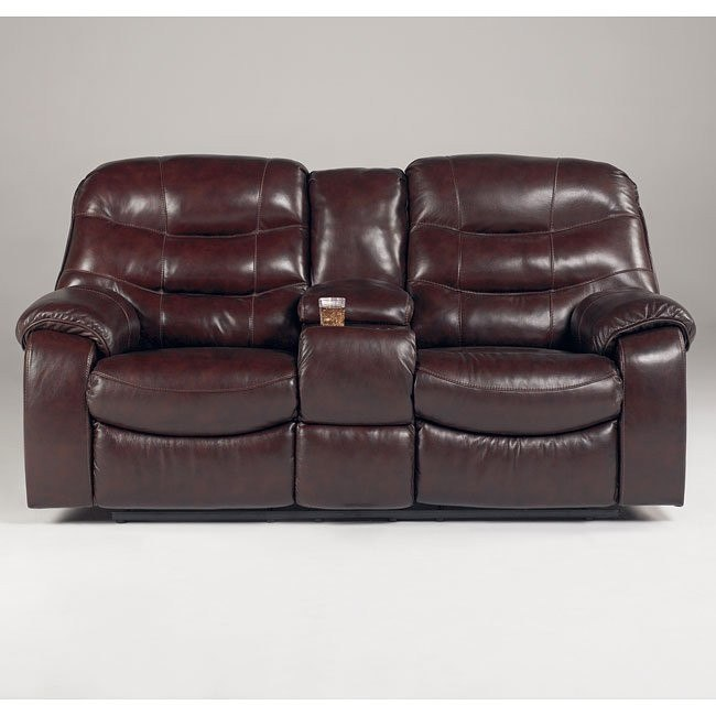 Rourke - Burgundy Double Reclining Loveseat w/ Console