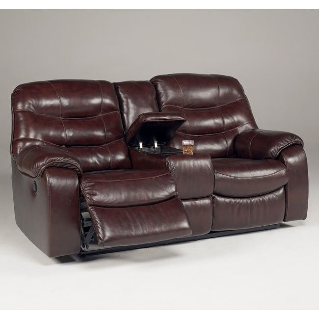 Rourke - Burgundy Double Reclining Loveseat w/ Console and Power