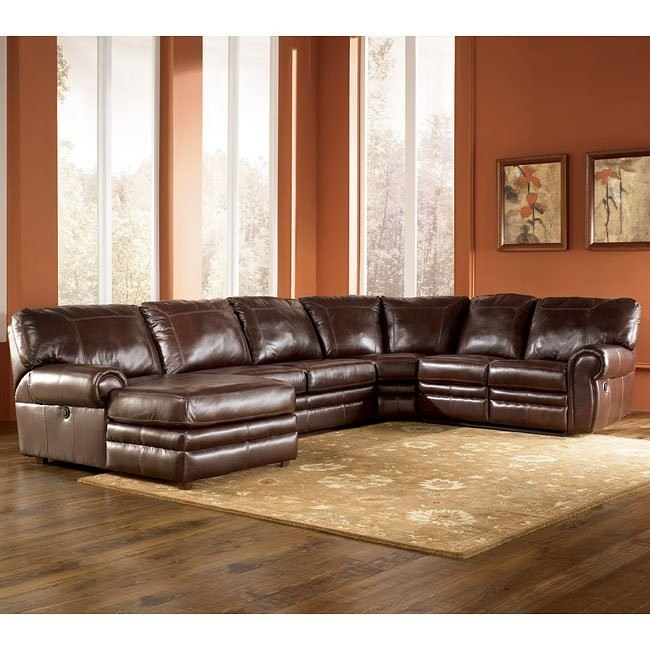 Merrion - Mahogany Left Chaise Power Reclining Sectional