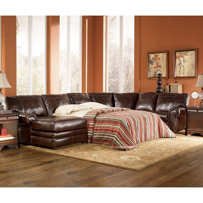 Merrion - Mahogany Left Chaise Reclining Sectional w/ Sleeper