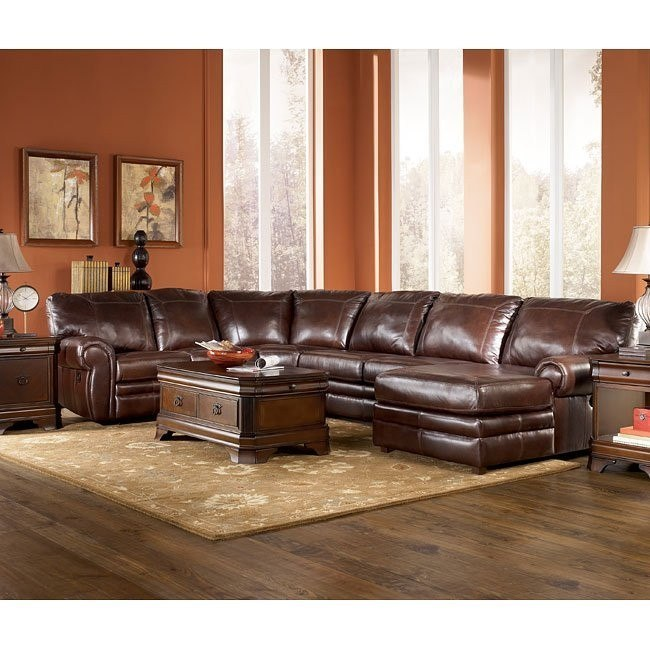 Merrion - Mahogany Reclining Sectional Living Room Set