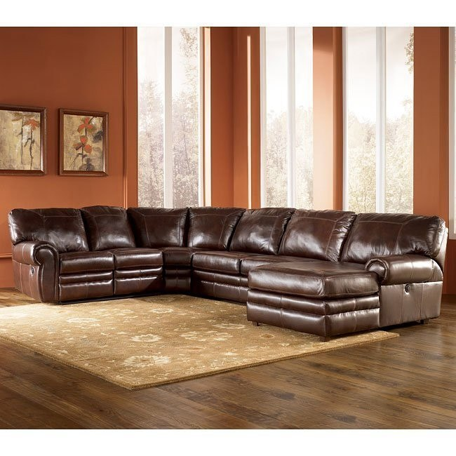 Merrion - Mahogany Right Chaise Power Reclining Sectional