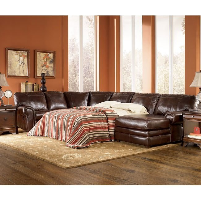 Merrion - Mahogany Right Chaise Reclining Sectional w/ Sleeper