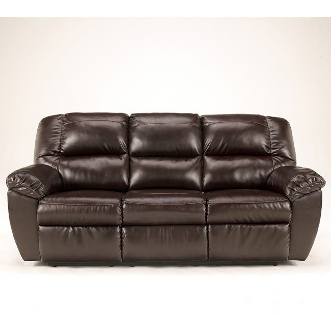 Rouge DuraBlend-Mahogany Reclining Sofa w/ Power