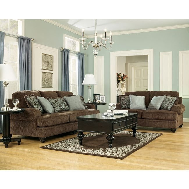 Crawford - Chocolate Living Room Set