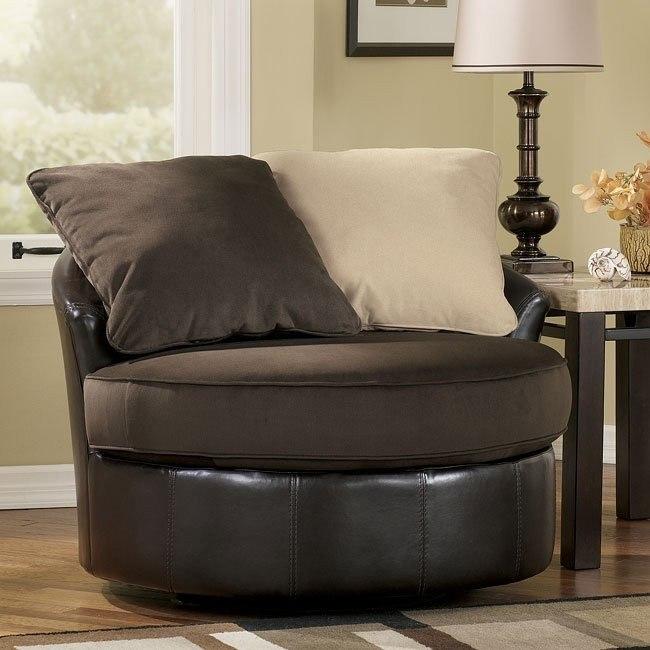 Vivanne - Chocolate Round Swivel Chair
