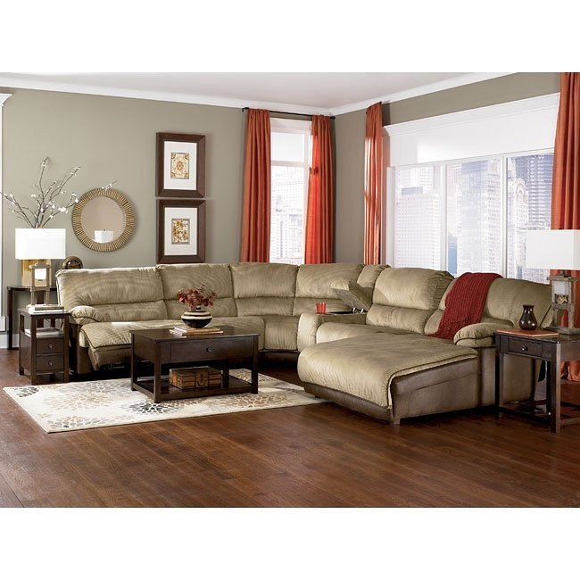 Dempsey - Cappuccino All-Reclining Sectional w/ Power