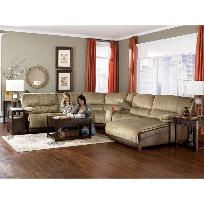 Dempsey - Cappuccino Sectional w/ Power