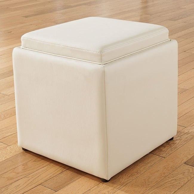 Cubit - Ivory Ottoman w/ Flip Top (1 Cube Inside)