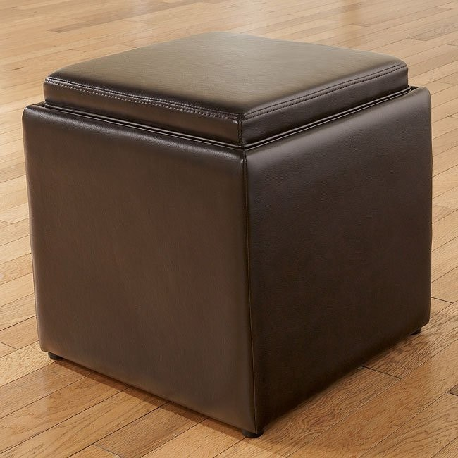 Cubit - Chocolate Ottoman w/ Flip Top (1 Cube Inside)