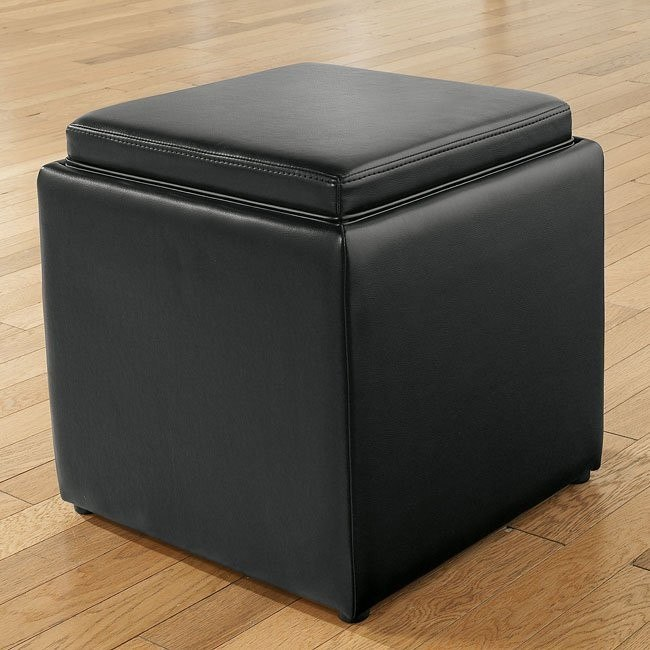 Cubit - Black Ottoman w/ Flip Top (1 Cube Inside)