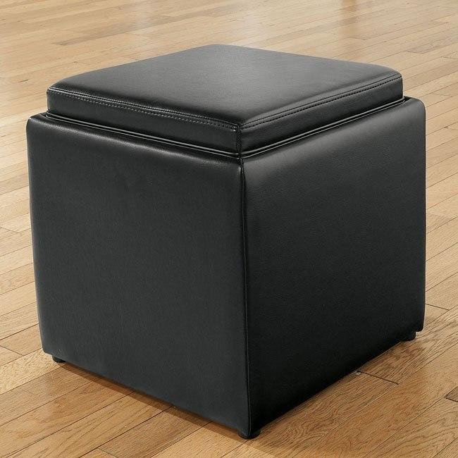 Cubit - Black Ottoman w/ Flip Top (1 Cube Inside)