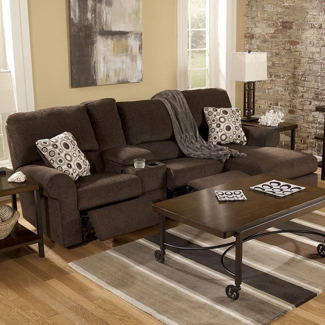 Cybertrack - Chocolate Right Chaise Power Reclining Sectional