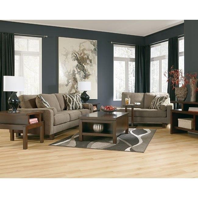 Treylan Smoke Living Room Set w/ Chaise
